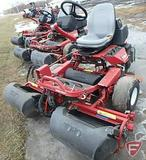 Toro 3100 Greensmaster 3WD gas reel mower, 3 gang, grass collection baskets, 5,393 hrs showing