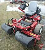 Toro 3100 Greensmaster 3WD gas reel mower, 3 gang, grass collection baskets, 4,506 hrs showing