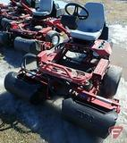 Toro 3100 Greensmaster 3WD gas reel mower, 3 gang, grass collection baskets, 2,215 hours