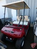 Club Car 4-seat gas golf car with top, maroon metallic, SN: ag9135-258166