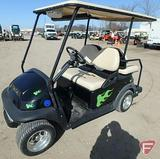 2007 Club Car 4-seat electric golf car with stereo, top and mirror bar, black