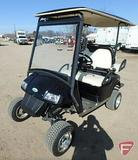 Zone-e 4-seat electric golf car with top, windshield, lift kit and lights, black