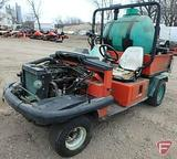 Jacobsen gas 2WD utility vehicle, ROPS, 3,104 hrs showing with skid mount 150 gal. sprayer