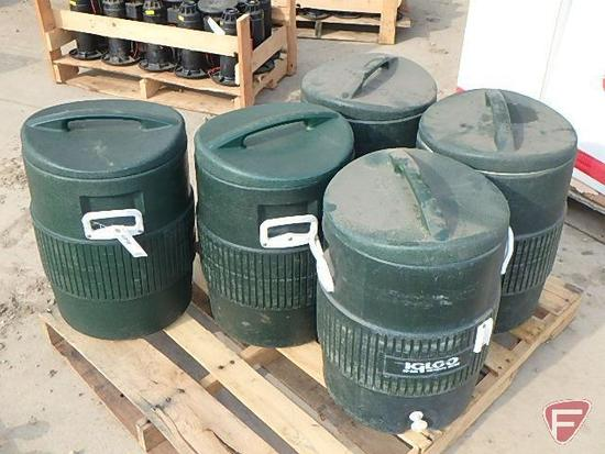 (5) Igloo 10 gallon water-coolers