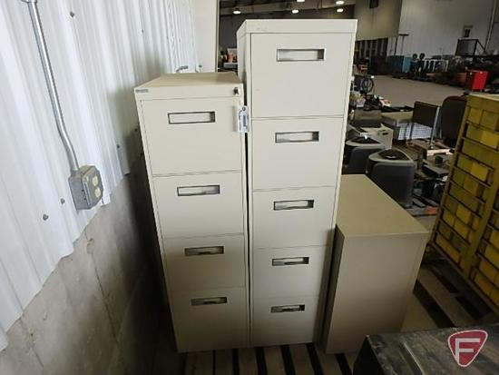 Five drawer file cabinet, four drawer file cabinet, two drawer file cabinet, metal, all three