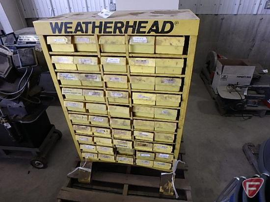 "Weatherhead parts cabinet organizer with bins, no contents, approx. 30"" L x 15"" W x 47"" H"