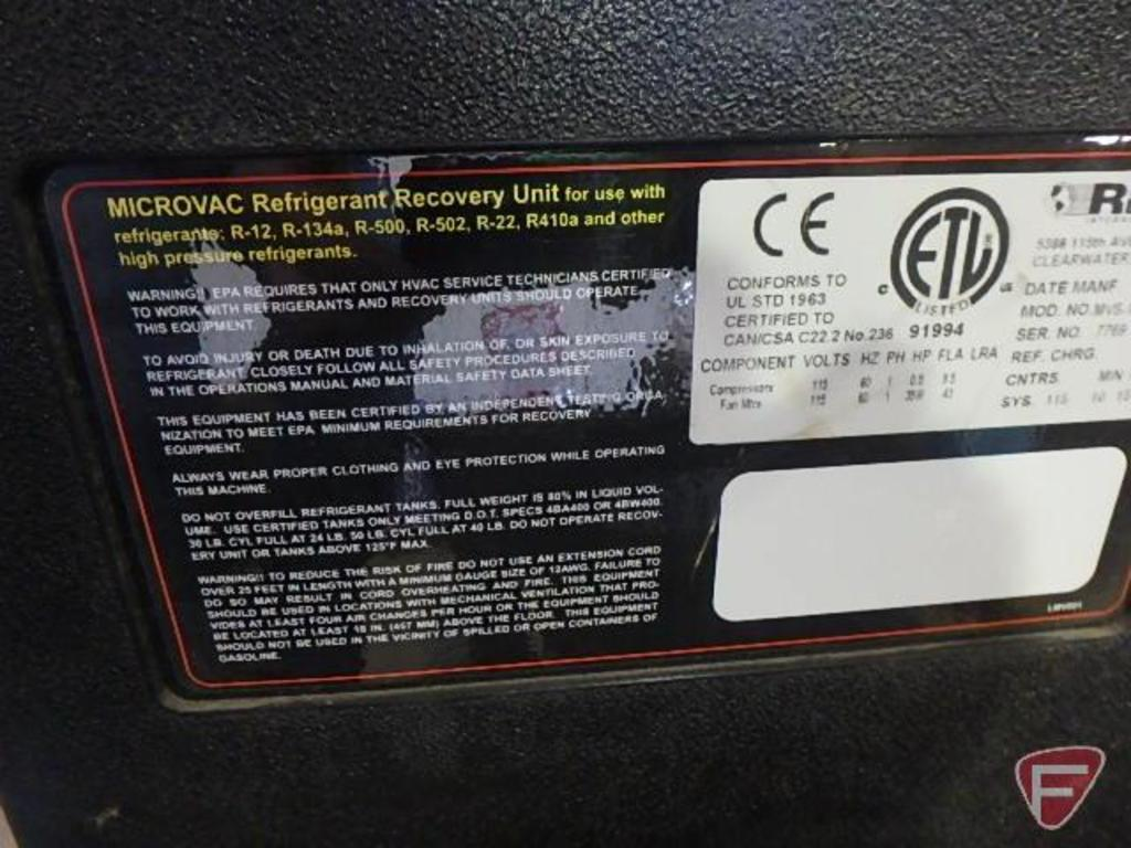 Microvac refrigerant recovery unit for use with R12, R134A