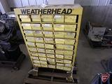 Weatherhead parts cabinet organizer with bins, no contents, approx. 30