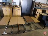(6) adjustable height bed tray tables on wheels