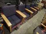 (5) wood upholstered arm chairs