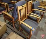 (4) wood upholstered arm chairs