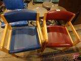 (2) Thonet leather-like upholstered arm chairs