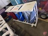 PVC pipe 3-section laundry cart, with foot controlled lid