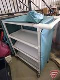 PVC pipe 4-shelf shelving on casters with tarp flaps with snaps, 36