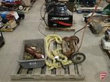 Contents of pallet: antique push lawn mower (broken handle), various pick-up teeth for baler,