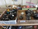 Assortment of fishing reels, bobbers, hooks, frog lure, and more, four boxes