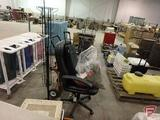 Office chair, (2) display racks, Christmas decorations, suitcase, car