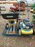 Yardworks pull type broadcast spreader with spare wheel, MTD Yard Machine walk behind lawn mower
