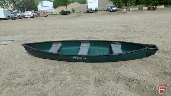 14ft Sun Dolphin Scout SS green plastic canoe, model SD140, VIN JOK20480L415