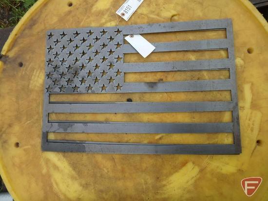 "Metal decorative American Flags, 16""X24"""