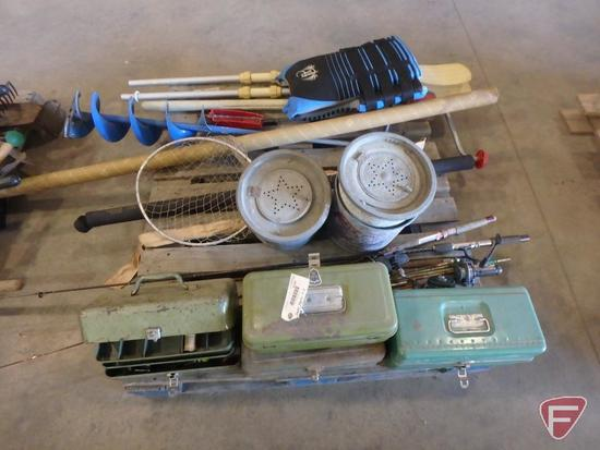 Ice auger, life jacket, galvanized minnow buckets, fishing poles, tackle boxes,