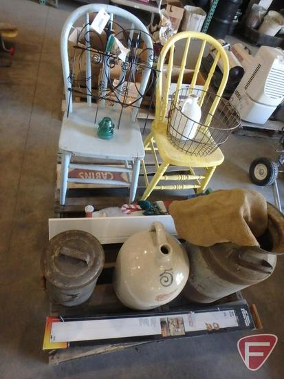 Red Wing No. 5 crock jug with cracks, milk can with lid, metal container, (2) painted chairs,