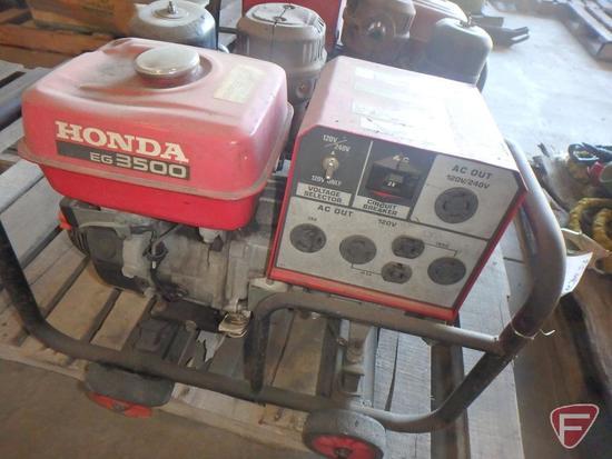 Honda EG3500X gas generator on cart with wheels, 120/240v AC, 29/14.5amp