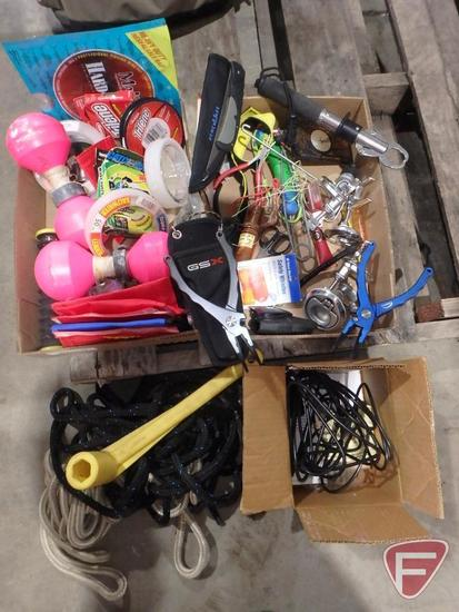 Buoy markers, fishing line, lures, stake pocket hold-downs, rope, spring loaded gaff hook