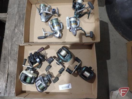 Bait casting reels and spinner fishing reels