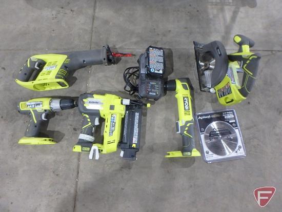 "Ryobi 18v cordless tool set: P271 drill, P515 reciprocating saw, P320 5/8"" to 2"" brad nailer"