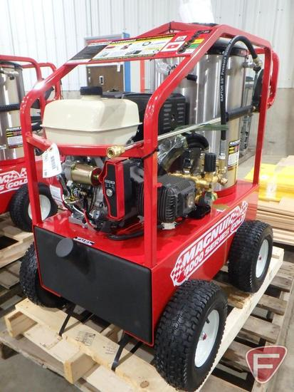 New EZ Kleen Magnum 4000 series gold portable hot water pressure washer on pneumatic wheels