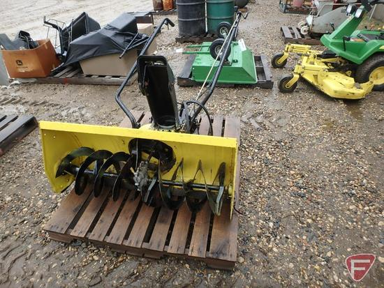 """42"""" John Deere front mount snow blower with tire chains"""
