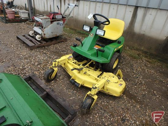 John Deere F525 riding lawn mower with 48in out-front rotary deck, 1197hrs showing, sn M0F525A141790