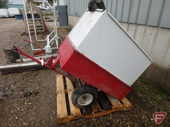"""Pull-type dump garden cart with sides, 36"""" thatcher, jerry fuel can, 5 gallon oil cans"""