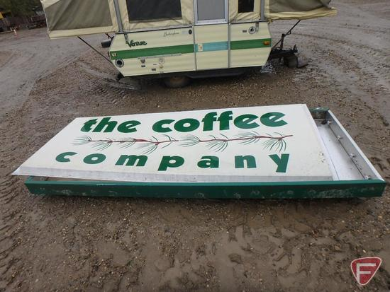 """The Coffee Company single-sided lighted box advertising sign, no lights, 120""""w x 48""""h"""