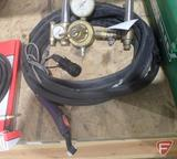 Tig welding torch with lead, hose, and inert gas regulator