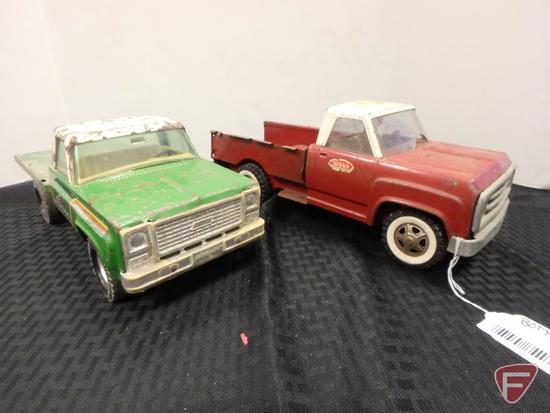 Tonka pickup red with broken windshield and green flatbed Tonka Pickup