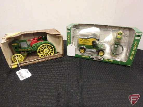 John Deere 1915 Model R #559 John Deere Ford coin bank and 1920's Wayne gas pump