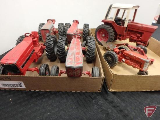 International tractors and plow, Hubley tractor, 2 flats