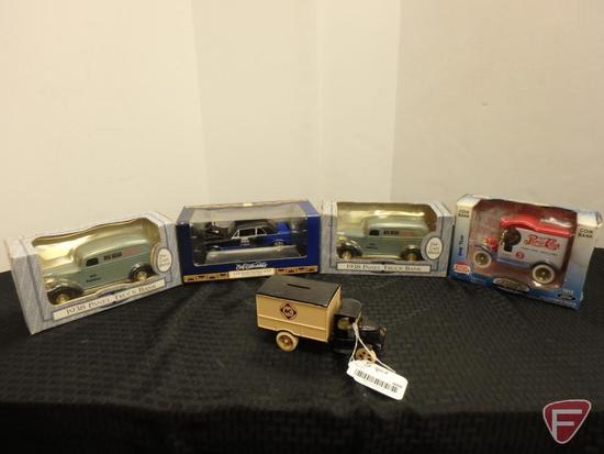 Allis-Chalmers Milwaukee bank truck, Pepsi Cola bank truck, Big Bear family centers bank trucks