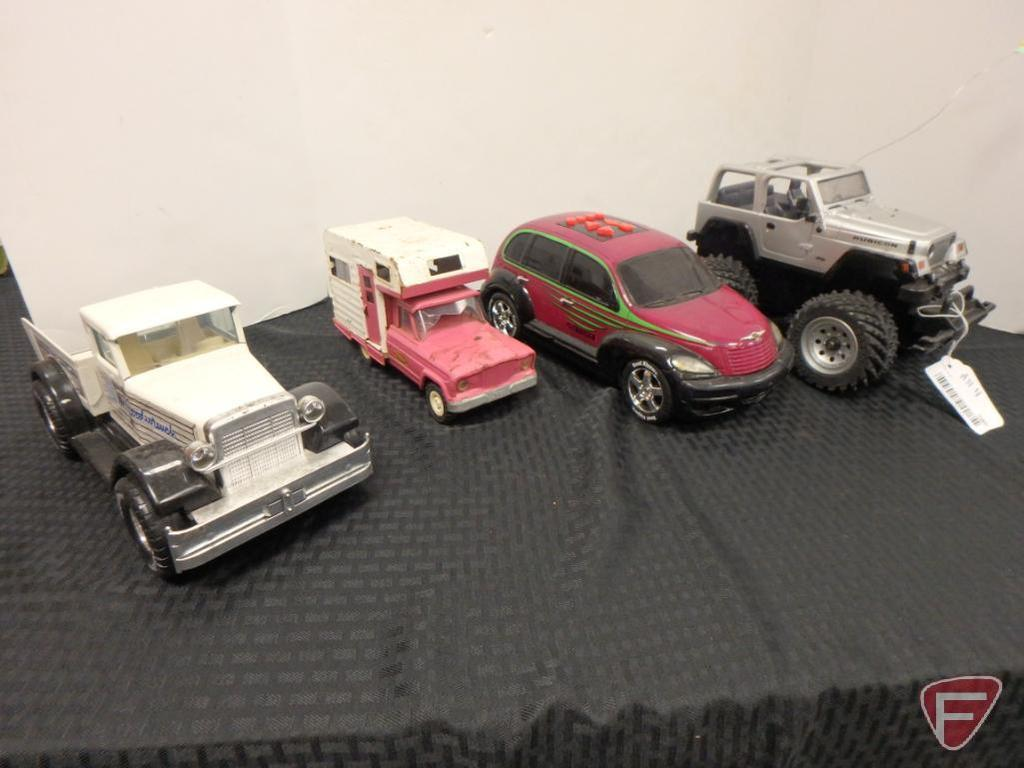 Nylint GM goodwrench parts truck, Tonka pickup camper, RC Jeep Rubicon PT cruiser