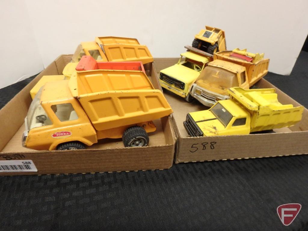 Tonka dump trucks, Ertl dump truck, smaller assorted dump trucks, 2 flats