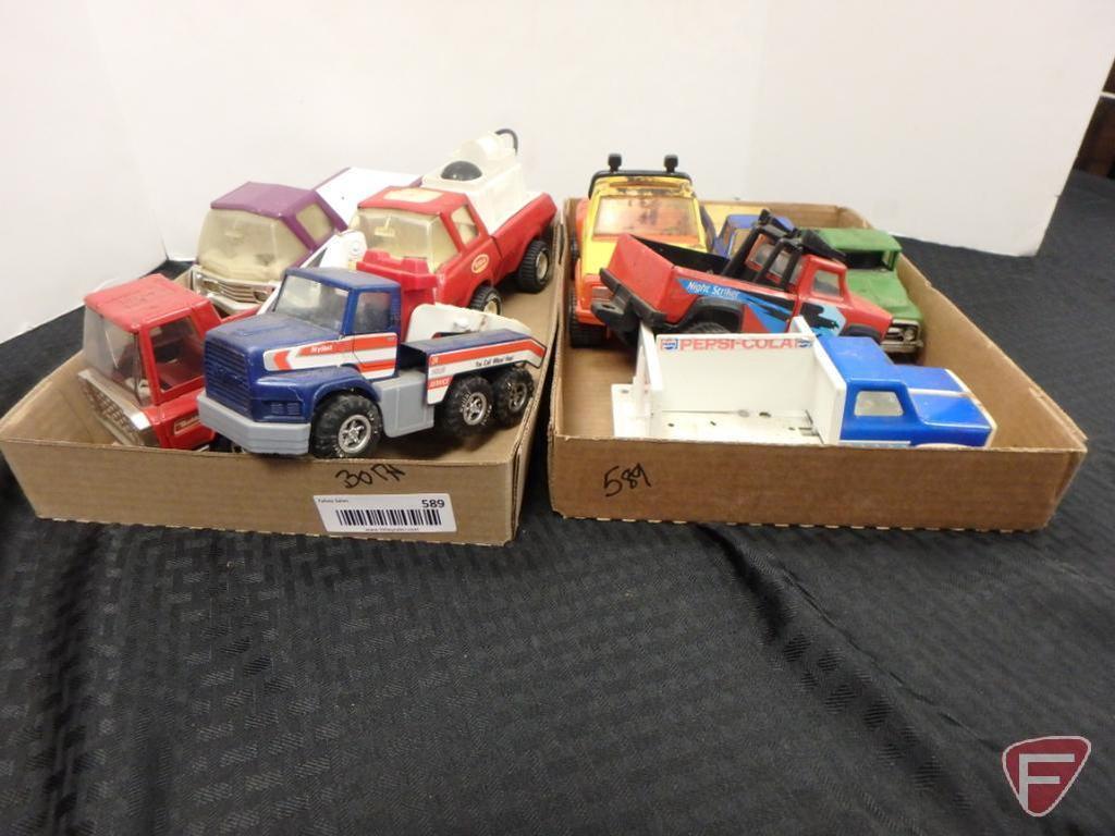 Tonka trucks and other assorted trucks