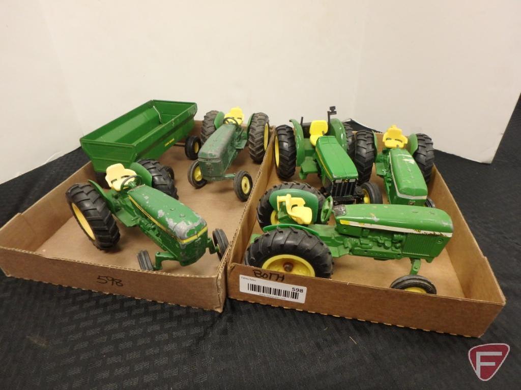 John Deere tractors and wagon, 2 flats