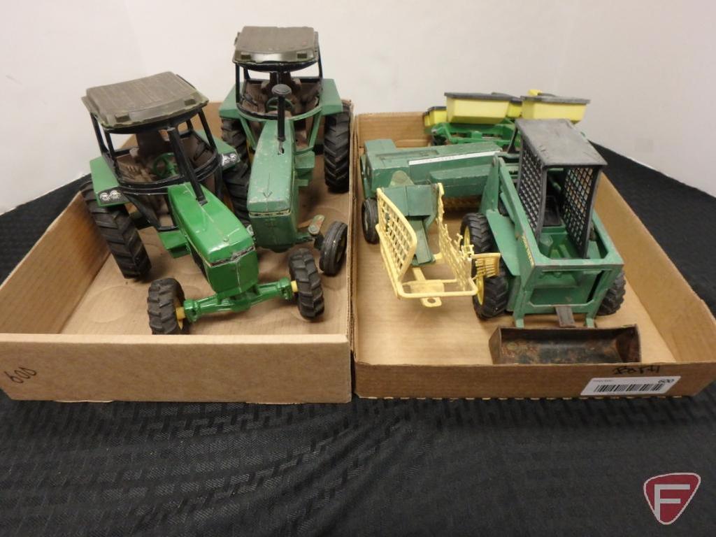 John Deere tractors, planter, skidloader, small square baler