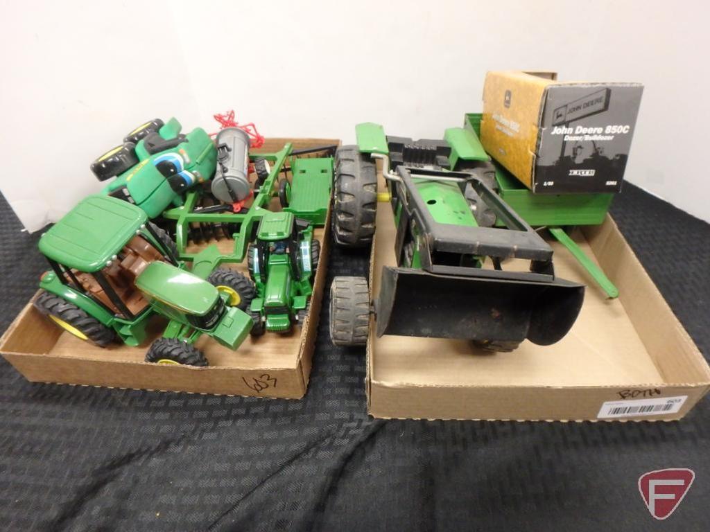 John Deere tractors, disk, dozer, and Tonka loader tractor