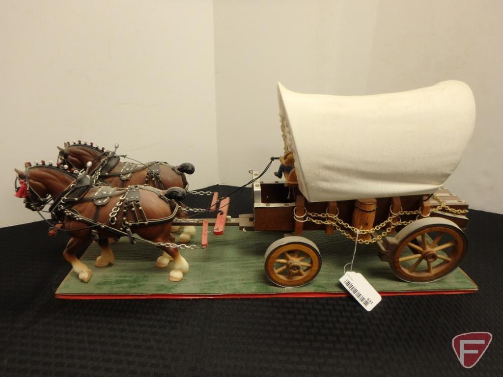 2 horse team and covered wagon