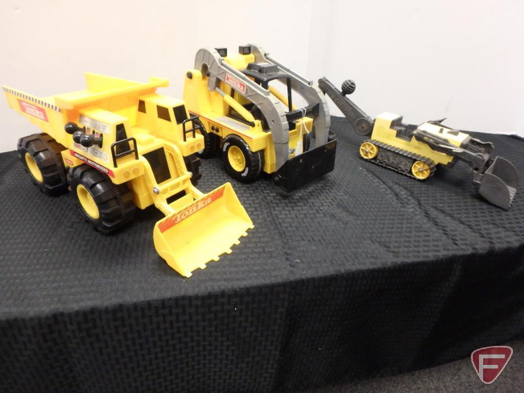 Mighty-Tonka Motorized plastic loader dump truck, Mighty-Tonka Motorized power loader, Tonka crawler