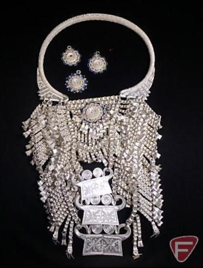 Hmong torque Silver bullion lock necklace/ ceremonial wedding necklace (40.365 ozt)