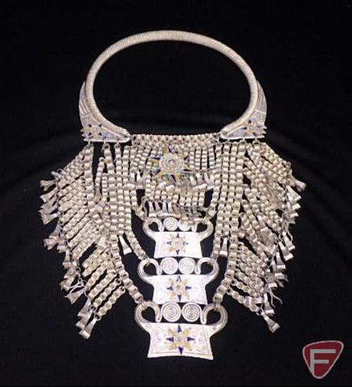 Hmong torque Silver bullion lock necklace/ceremonial wedding necklace (42.765 ozt)